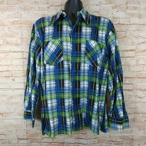 Male Duds Flannel blue green shirt 2 pockets SZ L